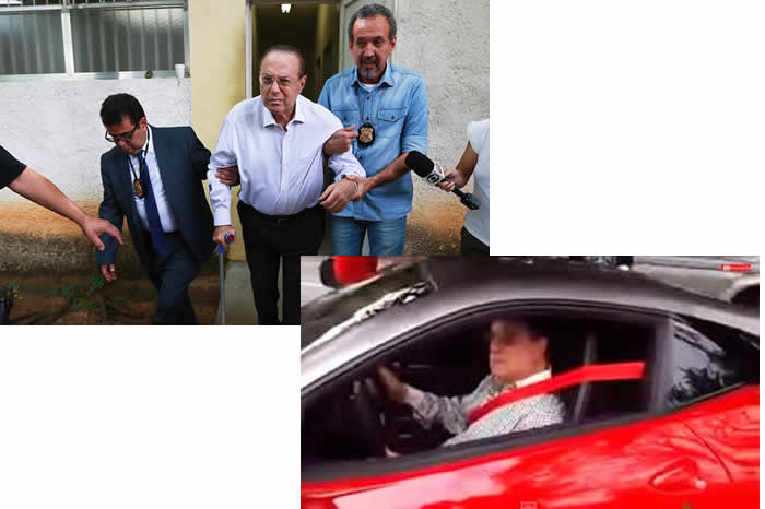 Paulo Maluf foi flagrado em uma Ferrari e sem a bengala momentos antes de ser preso?