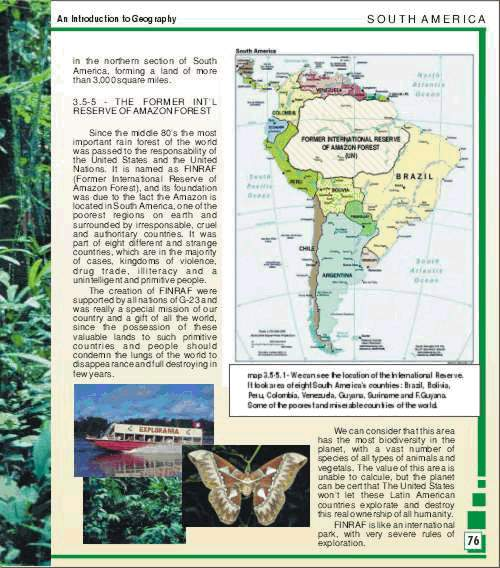 Mapa que mostra suposta internacionalização da Amazonia