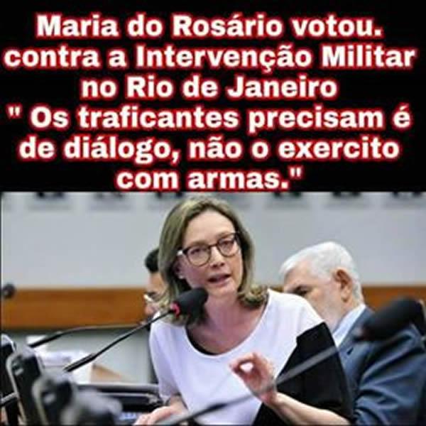 Maria do Rosário votou contra a intervenção militar no Rio de Janeiro?