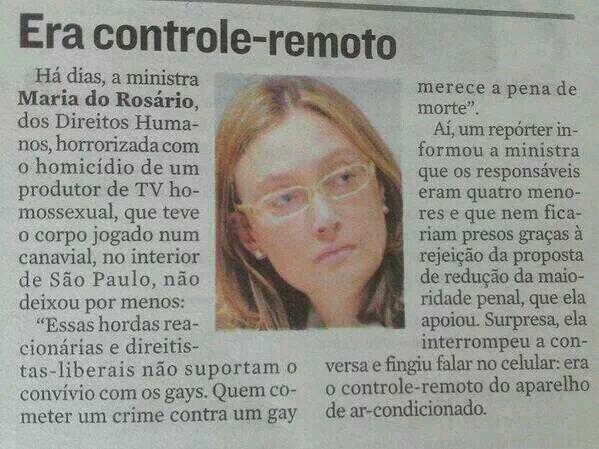 Recorte de jornal mostra gafe cometida pela ministra dos Direitos Humanos! Será verdade? (foto: Reprodução/Facebook)