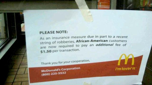 Racismo em aviso do McDonalds