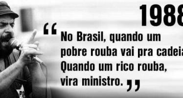 Frase atribuída a Lula diz que rico quando rouba vira ministro! Será verdade? (foto: Reprodução/Facebook)
