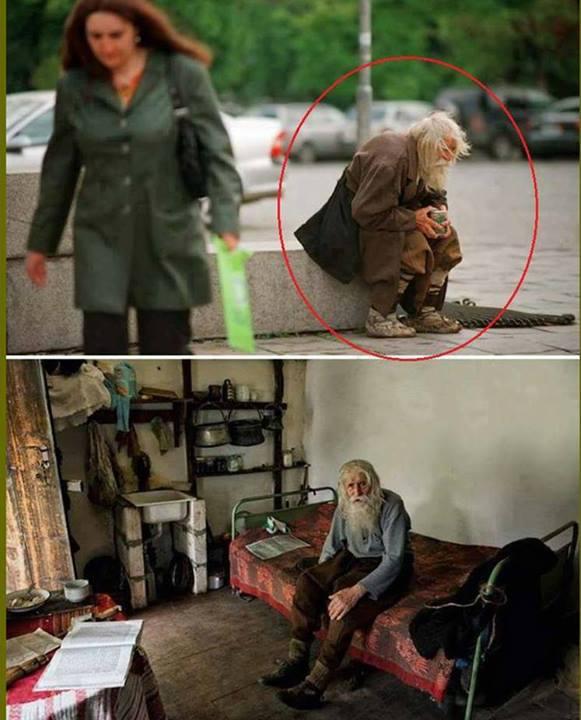 Dobri Dobrev, 98 anos, teria doado tudo o que conseguiu de esmolas para ajudar mosteiros e orfanatos! Será mesmo? (Fotos: Reprodução/Facebook)