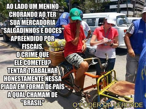 Garoto teve suas mercadorias apreendidas por estar trabalhando! Verdade ou farsa? (foto: Reprodução/Facebook)