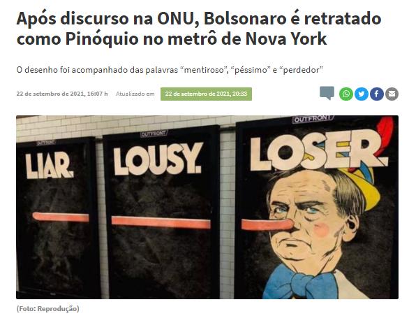 Cartazes com charge do Bolsonaro de Pinóquio foram colocados no metrô de Nova York?