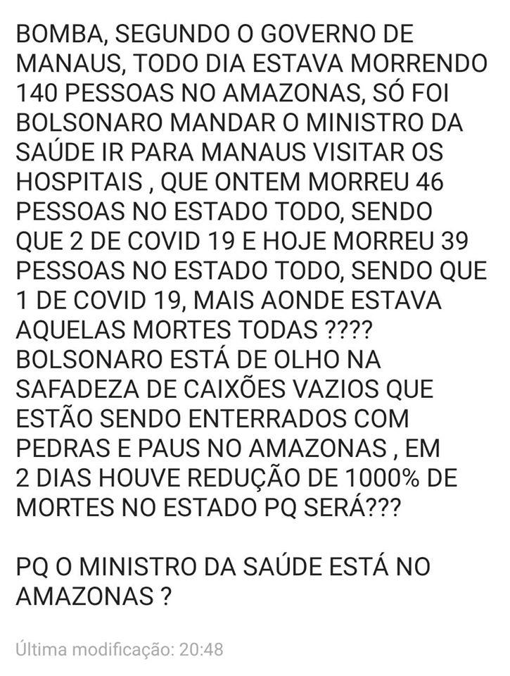 Número de mortes por coronavírus caiu em Manaus na visita do ministro da Saúde?