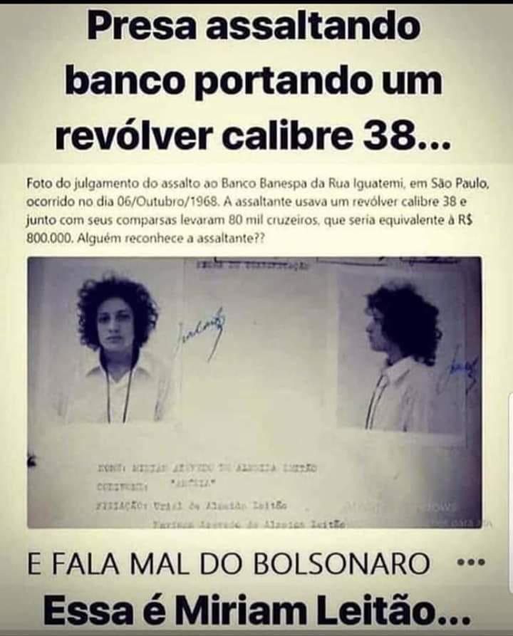 Miriam Leitão presa em 1968 por assalto ao Banespa?
