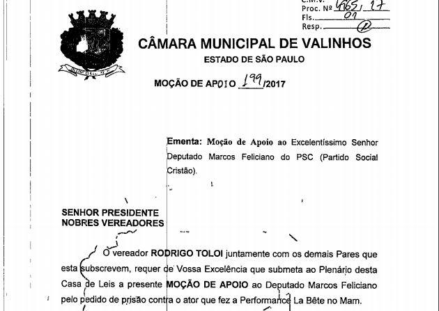 Vereadores registram moção de apoio a Marco Feliciano pela prisão de coreógrafo!