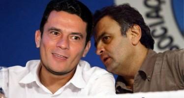Aécio Neves é flagrado negociando com o juiz Sérgio Moro! Será verdade? (foto: Reprodução/Facebook)