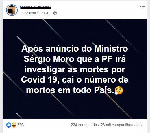 É verdade que os casos de mortes por COVID-19 diminuíram após Sergio Moro iniciar investigação?