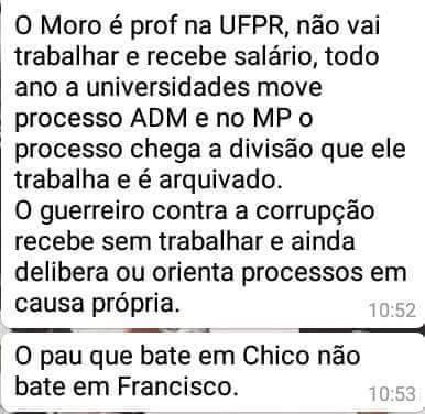 Texto que circula pelas redes sociais acusando o juiz Sérgio Moro de receber sem dar aulas!