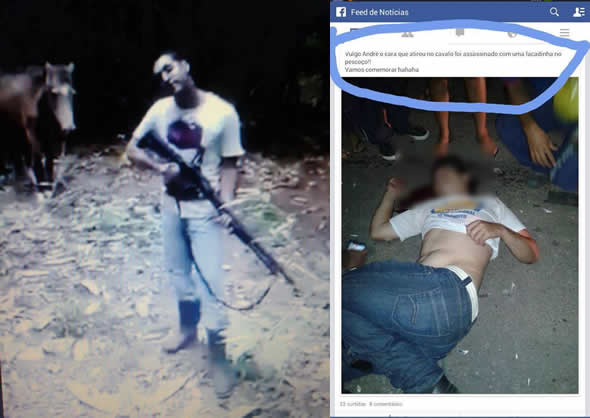 Homem que matou o cavalo a tiro aparece morto no dia seguinte! Será? (fotos: Reprodução/Facebook)
