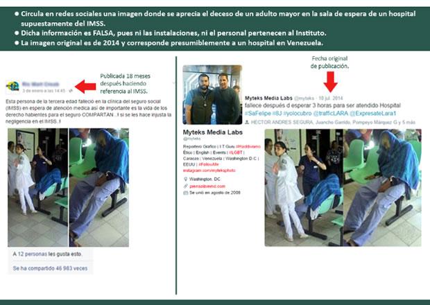 Imagens feitas pela IMSS para explicar que as fotos não são recentes e tampouco mexicanas!