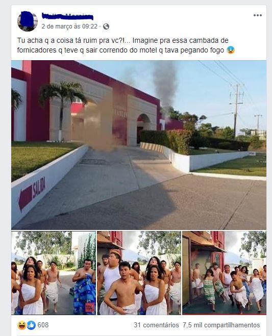Motel pega fogo e casais saem correndo quase sem roupas dos quartos! Será verdade?
