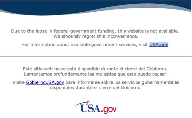 Aviso oficial do governo do Estados Unidos sobre a suspensão temporária das atividades do órgãos públicos!