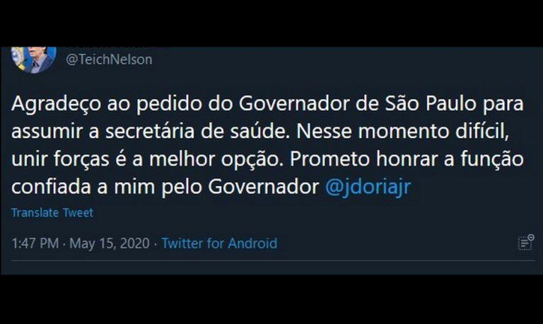 Ex-ministro Nelson Teich aceitou o cargo de Secretário de Saúde do Estado de São Paulo?