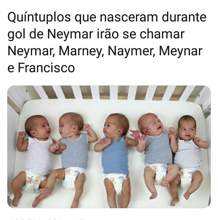 Quíntuplos nascidos durante o gol do Neymar terão nomes em homenagem ao jogador?