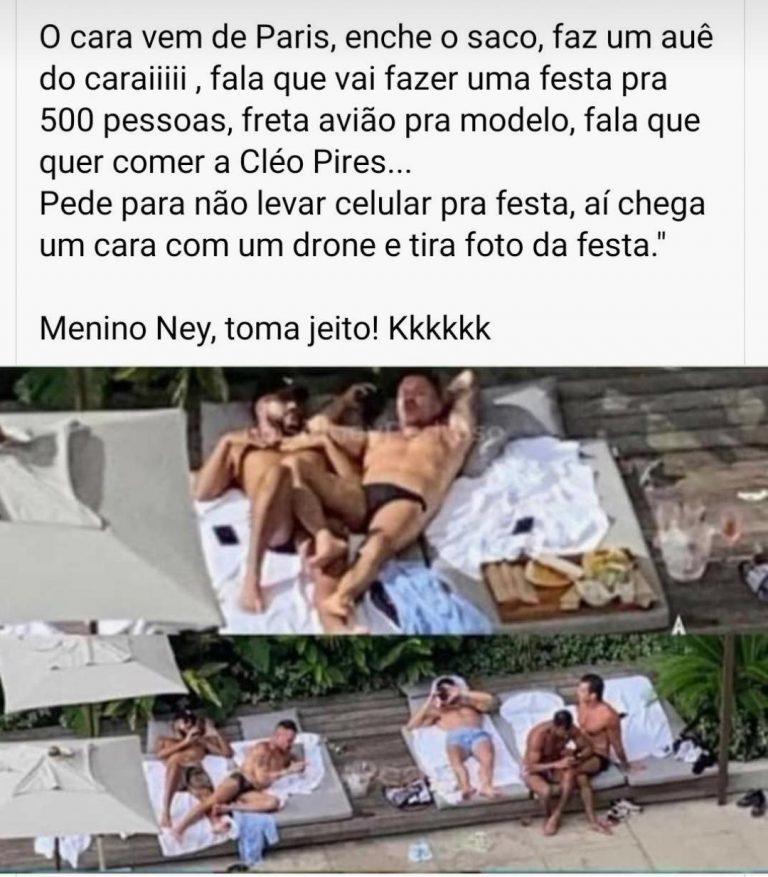 Neymar foi fotografado por um drone em um motel com vários homens?