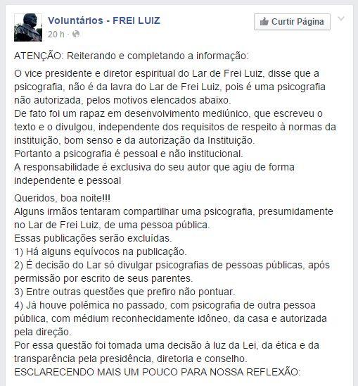 Trecho da nota publicada pelo vice presidente da instituição, no Facebook