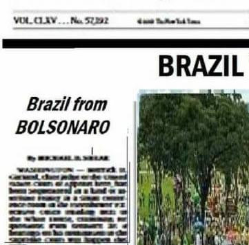 O jornal The New York Times publicou na capa as manifestações a favor do Bolsonaro?