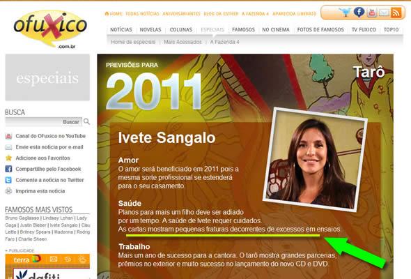 O Fuxico - Previsões para Ivete Sangalo em 2011