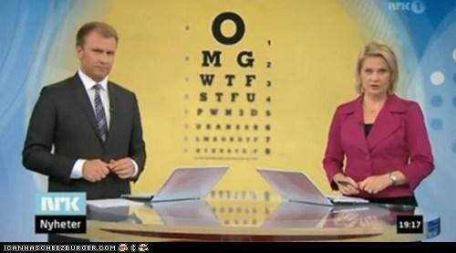 Telejornal exibe teste de visão com siglas de palavrões em inglês!