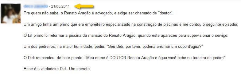 Comentário no Orkut sobre a suposta arrogância de Renato Aragão!
