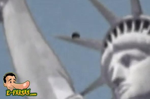 """A imagem do """"ovni"""" se mistura com a da estátua! (foto: Reprodução/YouTube)"""