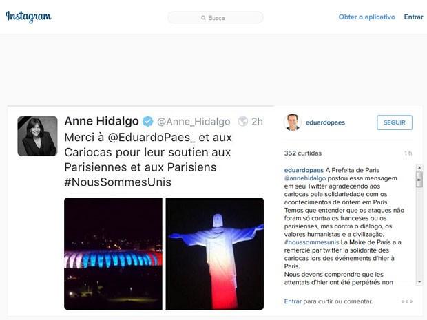 Prefeita de Paris agradece pela homenagem feita pelos brasileiros com foto antiga! (foto: Reprodução)