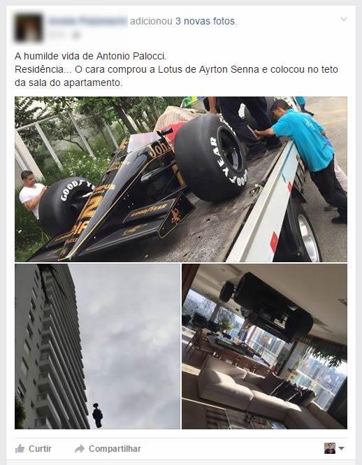 Antonio Palocci teria gastado milhões comprando o carro de Ayrton Senna pra usar como decoração! Será verdade? (foto: Reprodução/Facebook)