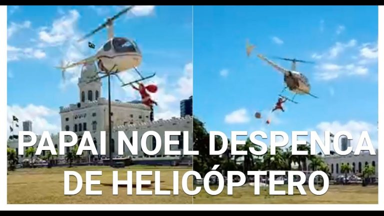 Vídeo mostra Papai Noel pendurado em um helicóptero desgovernado! Será verdade?
