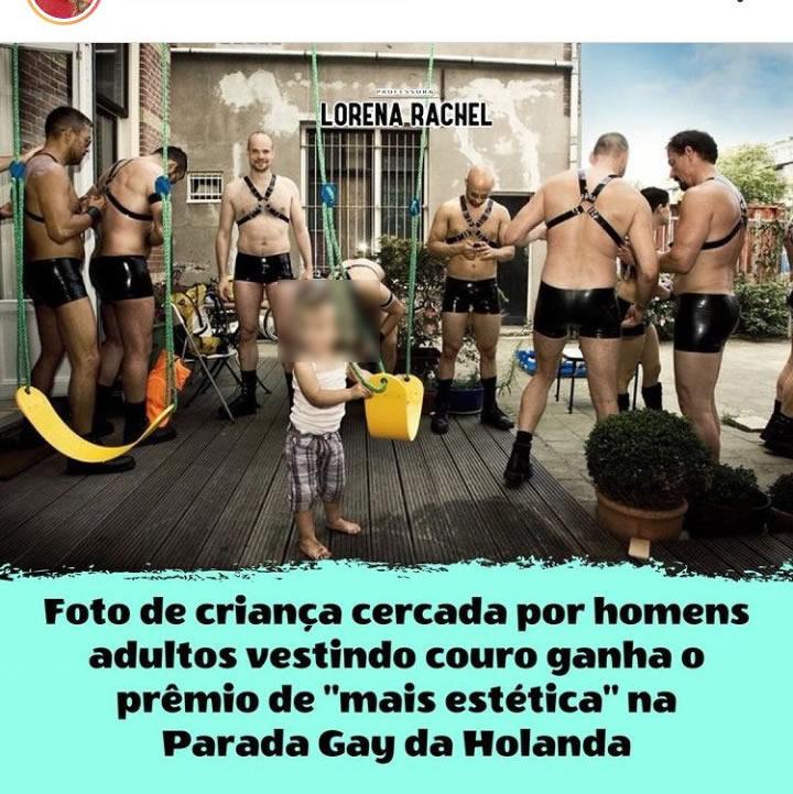 Foto de uma criança cercada por homens ganhou prêmio na Parada Gay da Holanda?
