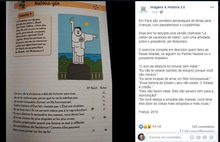 Paris lançou almanaque de férias para crianças comparando o Bolsonaro com um nazista?