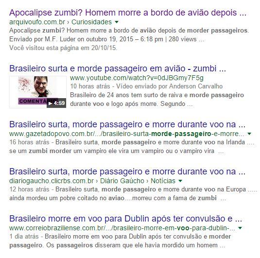 Uma busca no Google mostra que alguns sites e blogs acrescentaram o tom sobrenatural ao ocorrido!