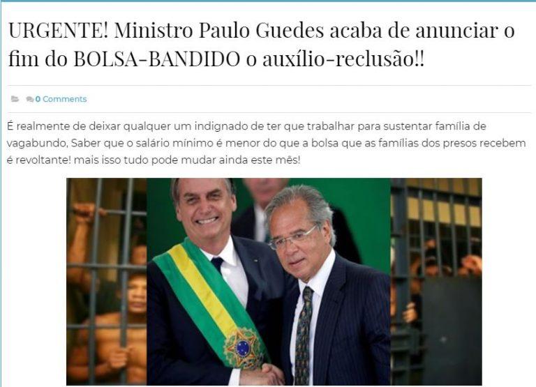 O ministro Paulo Guedes assinou o fim do auxílio-reclusão?
