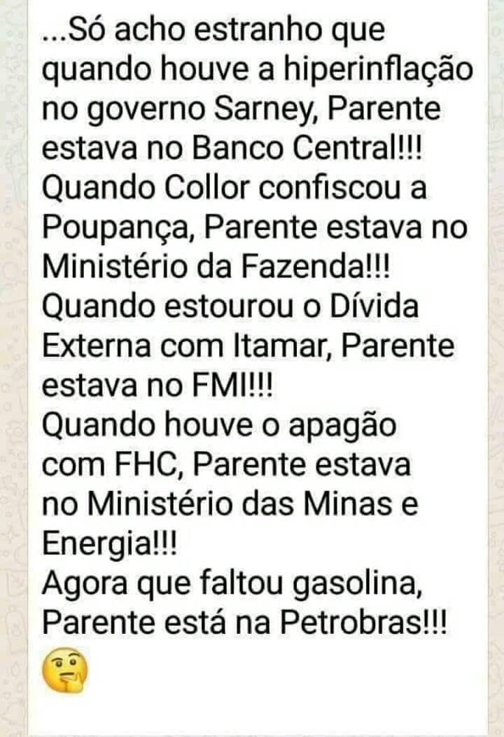 Pedro Parente estava no Governo em todas as crises do país?