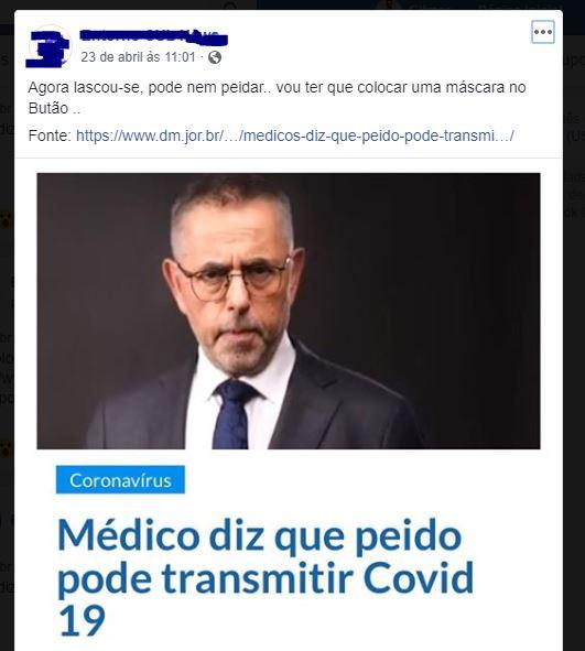 É verdade que o peido pode transmitir a COVID-19?