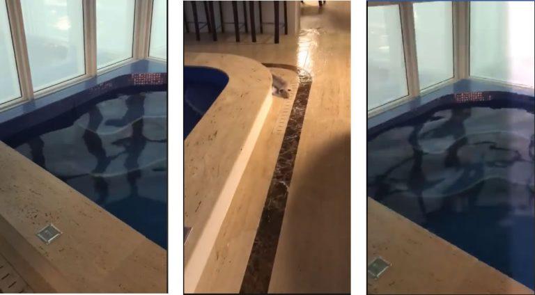 O vento chegou a derrubar água da piscina de um edifício em Balneário Camboriú?