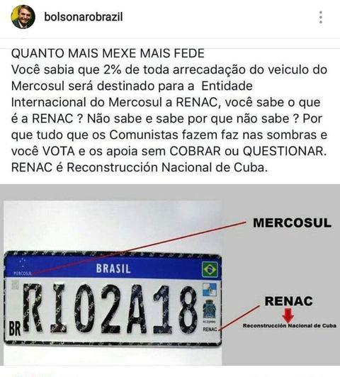 É verdade que 2% da arrecadação dos veículos do Mercosul são revertidos para a reconstrução de Cuba (Renac)?
