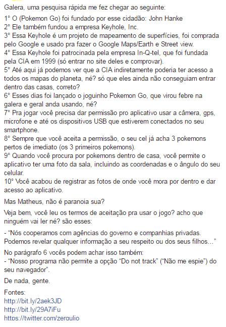 Texto que já teve dezenas de milhares de compartilhamentos no Facebook fala sobre o envolvimento da CIA no jogo Pokémon Go!