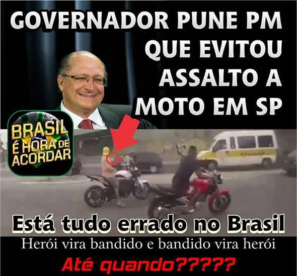 Uma das inúmeras postagens sobre a possível punição que o PM iria sofrer por ter atirado no bandido! (reprodução: Facebook)