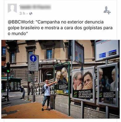 Londres estaria mostrando que o momento político brasileiro é um golpe! Será verdade? (foto: Reprodução/Facebook)