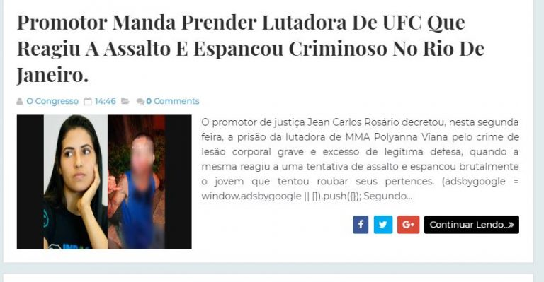 A lutadora de UFC Polyana Viana, que reagiu a assalto, foi presa?