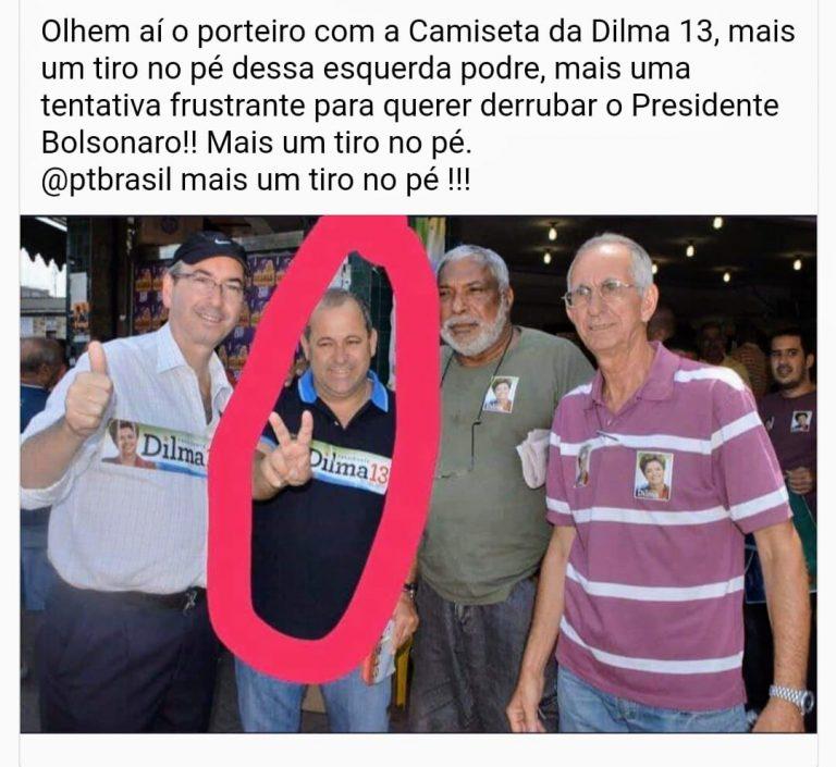Será que o homem usando camiseta da Dilma é o porteiro do condomínio de Jair Bolsonaro?