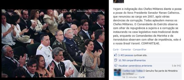 Chefes Militares indignados na posse de Renan Calheiros!