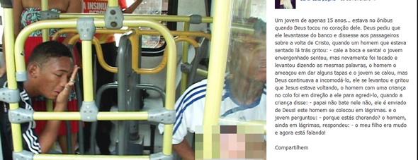 Texto que circula pelas redes sociais e em diversos blogs! Rapaz com problemas de fala foi agredido no ônibus por falar sobre religião. (foto: Reprodução/Facebook)