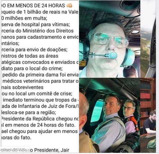 Em menos de 24 horas, Jair Bolsonaro fez muito pelas vítimas de Brumadinho! Será?