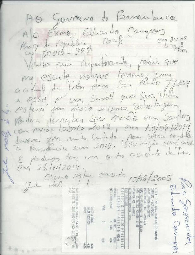 Carta teria sido enviada à Eduardo Campos, em 2005, advertindo-o sobre acidente fatal em 2014! Verdade ou farsa? (foto: Reprodução/Facebook)