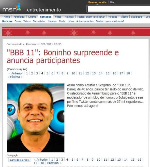 MSN - Reprodução da notícia falsa da participação do Bobagento no BBB