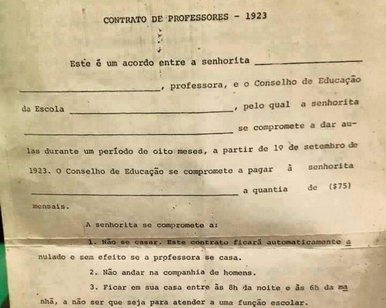 Contrato de professoras em 1923 proibia casar, frequentar sorveterias e andar com homens?